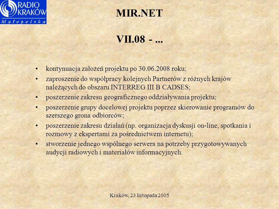 Kraków, 23 listopada 2005 MIR.NET Budżet projektu Całkowity budżet Projektu MIR.NET wynosi: 1.160.803,62 euro.