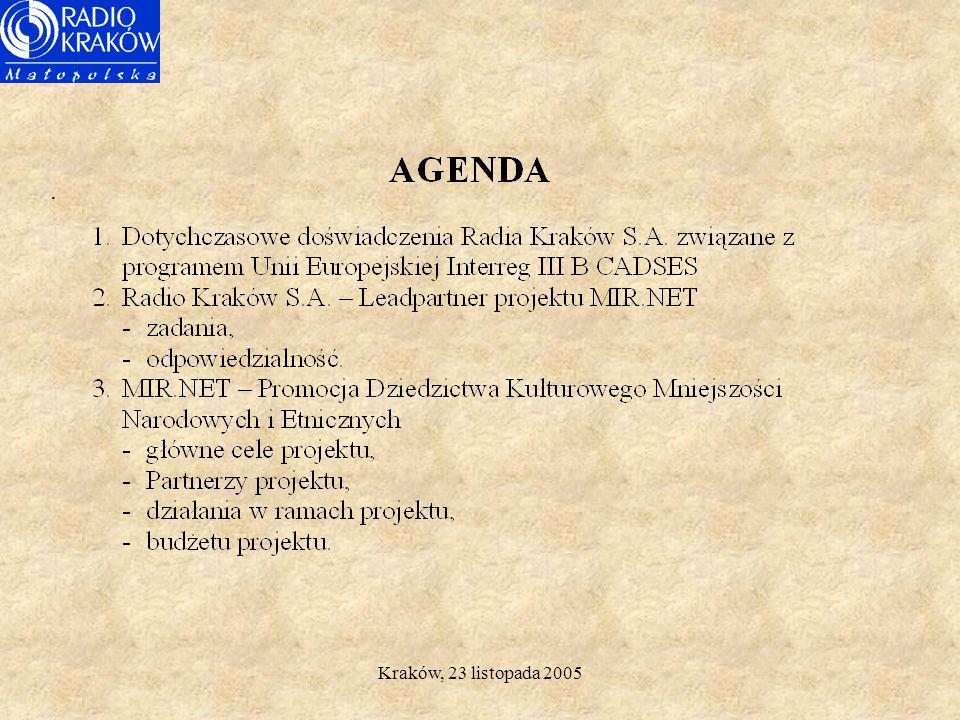 Kraków, 23 listopada 2005 Radio Kraków S.A. Radio internetowe z programami dla mniejszości narodowych i etnicznych - wymiar europejski Janusz Andrzejo
