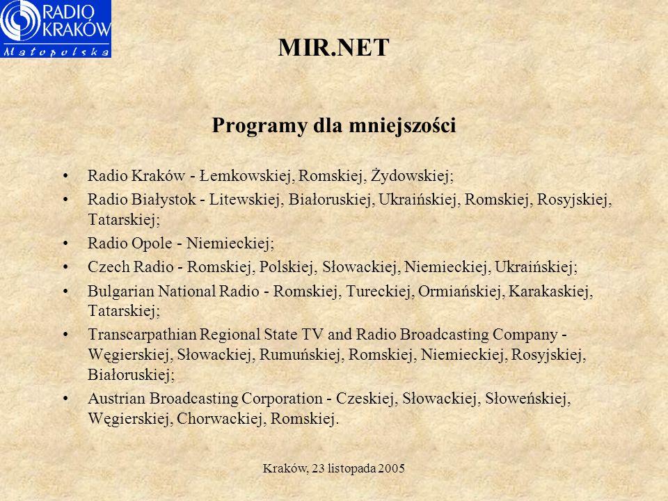 Kraków, 23 listopada 2005 MIR.NET Partnerzy Projektu Radio Kraków - Polska (Leadpartner) Radio Opole - Polska Radio Bialystok - Polska Czech Radio - R