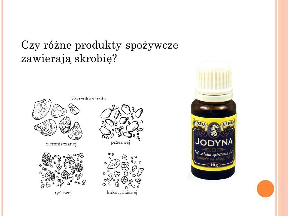 Skrobia jest białą substancją stałą, bez zapachu.