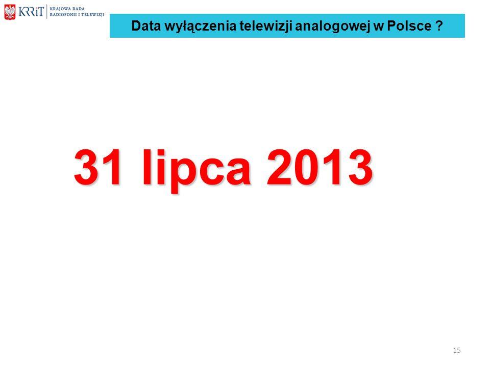 Data wyłączenia telewizji analogowej w Polsce ? 31 lipca 2013 15