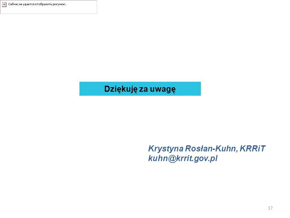 Dziękuję za uwagę Krystyna Rosłan-Kuhn, KRRiT kuhn@krrit.gov.pl 17