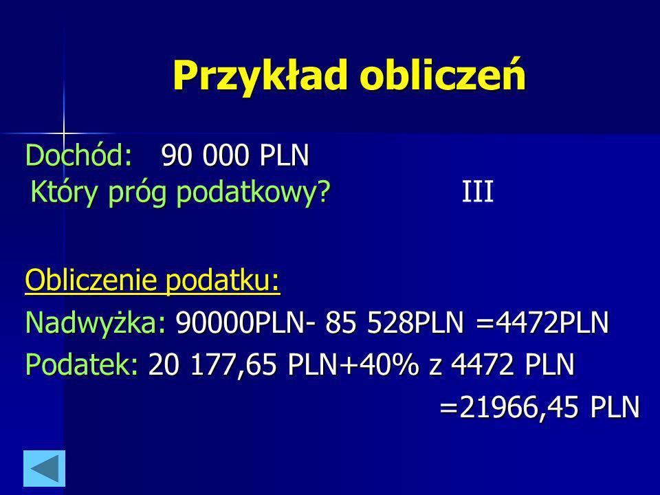 Przykład obliczeń Obliczenie podatku: Nadwyżka: 90000PLN- 85 528PLN =4472PLN Podatek: 20 177,65 PLN+40% z 4472 PLN =21966,45 PLN Dochód: 90 000 PLN Kt