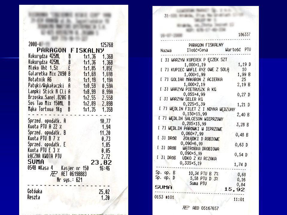 Zadanie 1 W otrzymanym paragonie, wyznacz wartości podatku VAT dla artykułów sprzedanych z 22%, 7% i 3% VATem (wg skali podatkowej obowiązującej do 2010r.) paragon