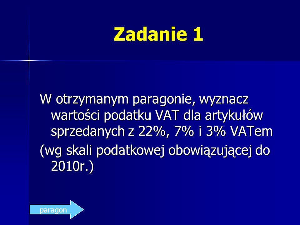 Zadanie 1 W otrzymanym paragonie, wyznacz wartości podatku VAT dla artykułów sprzedanych z 22%, 7% i 3% VATem (wg skali podatkowej obowiązującej do 20