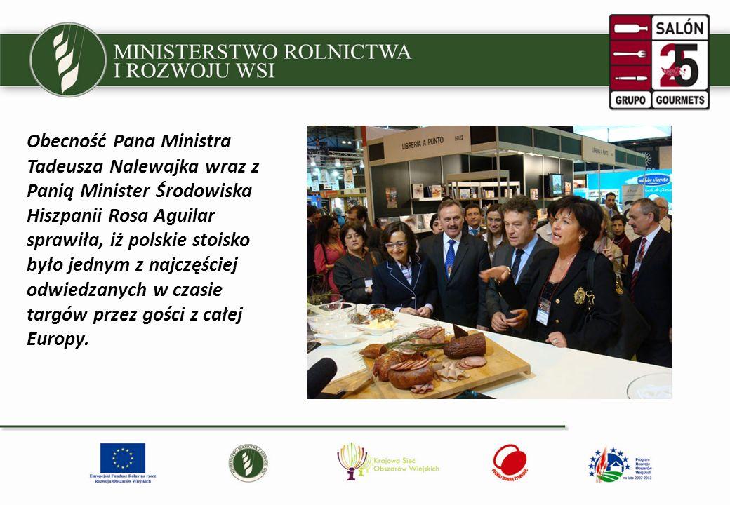 Obecność Pana Ministra Tadeusza Nalewajka wraz z Panią Minister Środowiska Hiszpanii Rosa Aguilar sprawiła, iż polskie stoisko było jednym z najczęściej odwiedzanych w czasie targów przez gości z całej Europy.