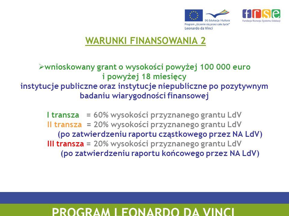 PROGRAM LEONARDO DA VINCI wnioskowany grant o wysokości powyżej 100 000 euro i powyżej 18 miesięcy instytucje publiczne oraz instytucje niepubliczne po pozytywnym badaniu wiarygodności finansowej I transza = 60% wysokości przyznanego grantu LdV II transza = 20% wysokości przyznanego grantu LdV (po zatwierdzeniu raportu cząstkowego przez NA LdV) III transza = 20% wysokości przyznanego grantu LdV (po zatwierdzeniu raportu końcowego przez NA LdV) WARUNKI FINANSOWANIA 2