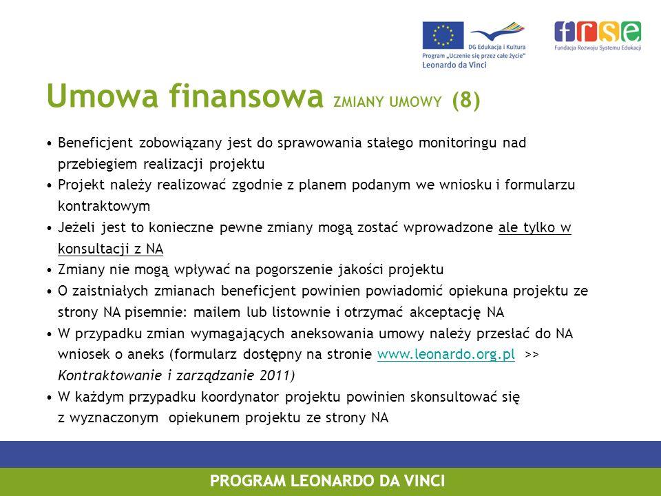 Umowa finansowa ZMIANY UMOWY (8) Beneficjent zobowiązany jest do sprawowania stałego monitoringu nad przebiegiem realizacji projektu Projekt należy re