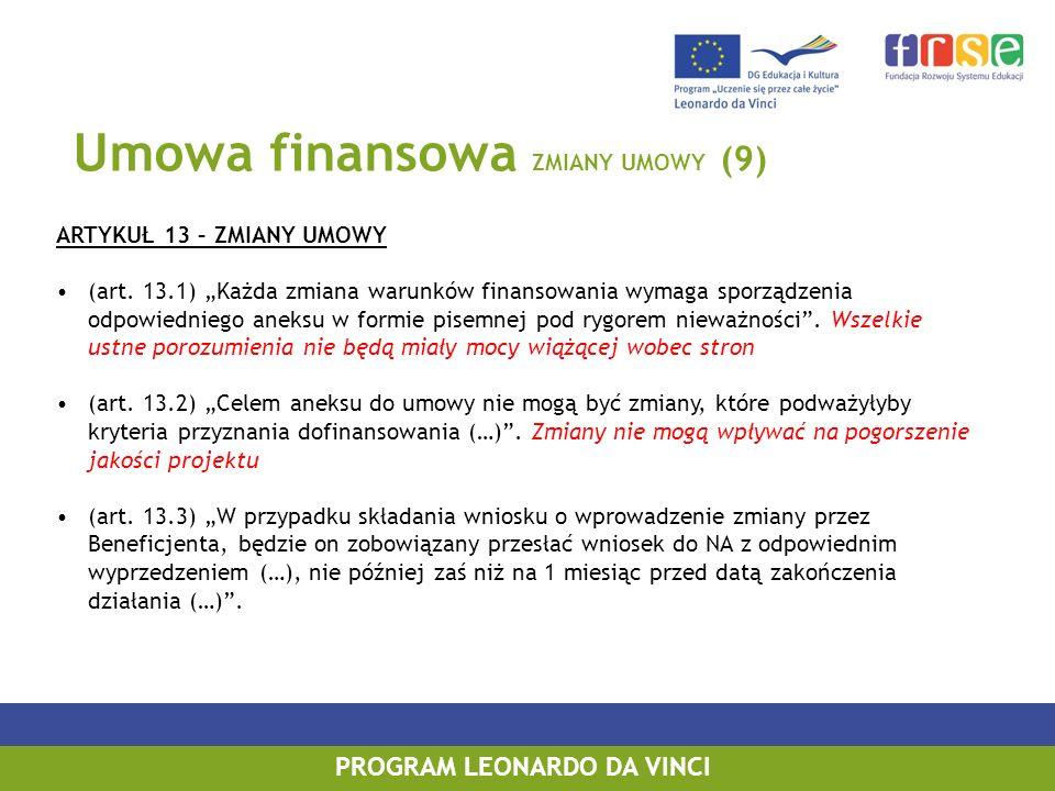 Umowa finansowa ZMIANY UMOWY (9) ARTYKUŁ 13 – ZMIANY UMOWY (art. 13.1) Każda zmiana warunków finansowania wymaga sporządzenia odpowiedniego aneksu w f