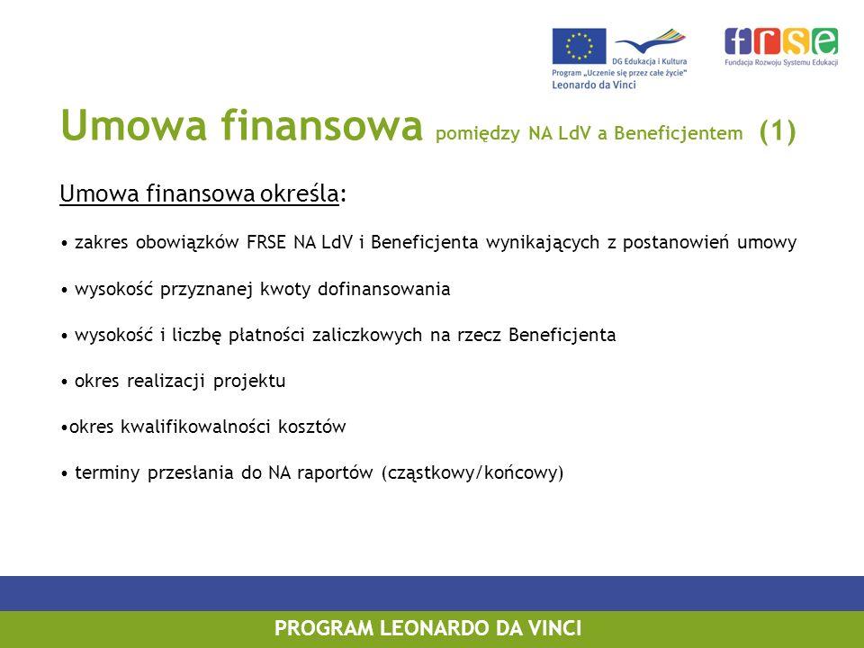 Umowa finansowa pomiędzy NA LdV a Beneficjentem (1) Umowa finansowa określa: zakres obowiązków FRSE NA LdV i Beneficjenta wynikających z postanowień umowy wysokość przyznanej kwoty dofinansowania wysokość i liczbę płatności zaliczkowych na rzecz Beneficjenta okres realizacji projektu okres kwalifikowalności kosztów terminy przesłania do NA raportów (cząstkowy/końcowy) PROGRAM LEONARDO DA VINCI