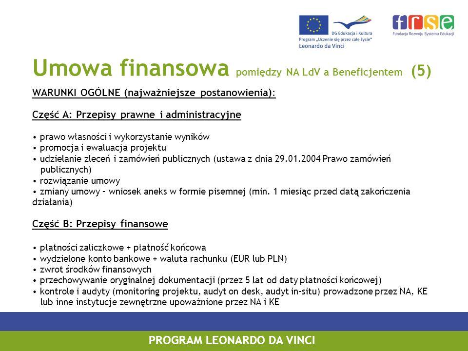 Umowa finansowa pomiędzy NA LdV a Beneficjentem (5) WARUNKI OGÓLNE (najważniejsze postanowienia): Część A: Przepisy prawne i administracyjne prawo wła