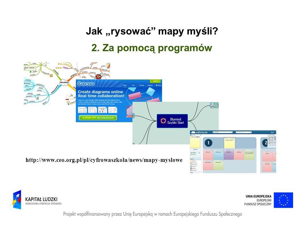 Jak rysować mapy myśli? 2. Za pomocą programów http://www.ceo.org.pl/pl/cyfrowaszkola/news/mapy-myslowe