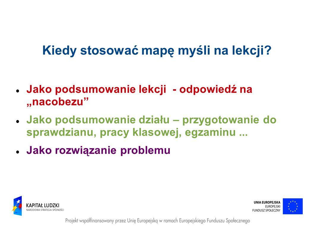 Kiedy stosować mapę myśli na lekcji? Jako podsumowanie lekcji - odpowiedź na nacobezu Jako podsumowanie działu – przygotowanie do sprawdzianu, pracy k