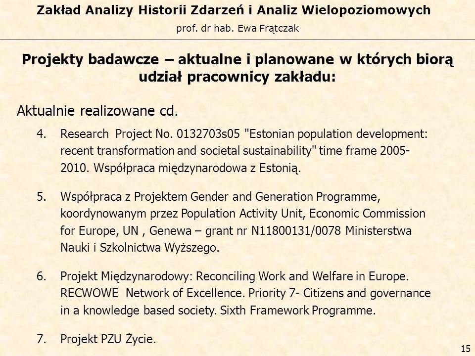 prof. dr hab. Ewa Frątczak Zakład Analizy Historii Zdarzeń i Analiz Wielopoziomowych 14 Projekty badawcze – aktualne i planowane w których biorą udzia