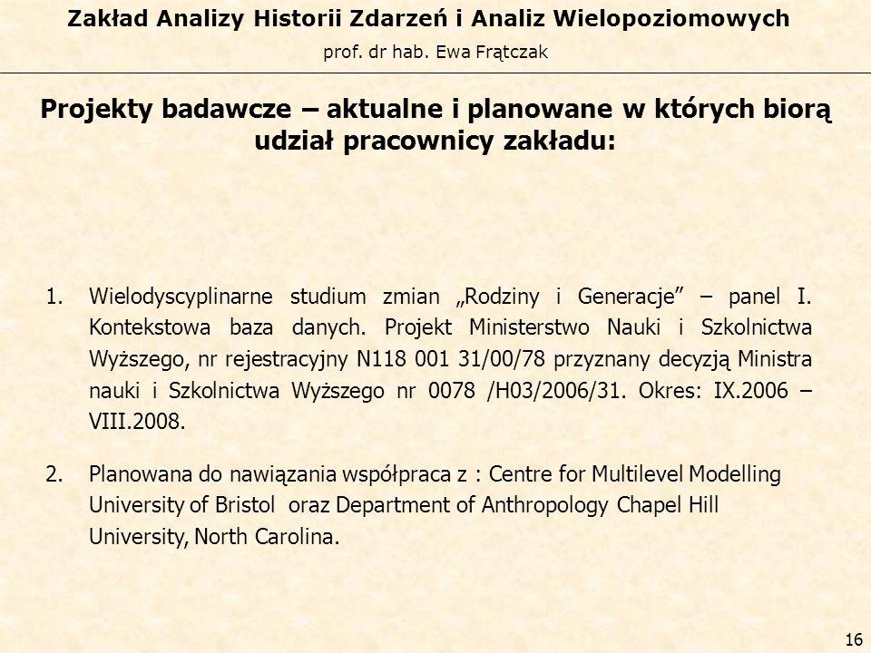prof. dr hab. Ewa Frątczak Zakład Analizy Historii Zdarzeń i Analiz Wielopoziomowych 15 Projekty badawcze – aktualne i planowane w których biorą udzia