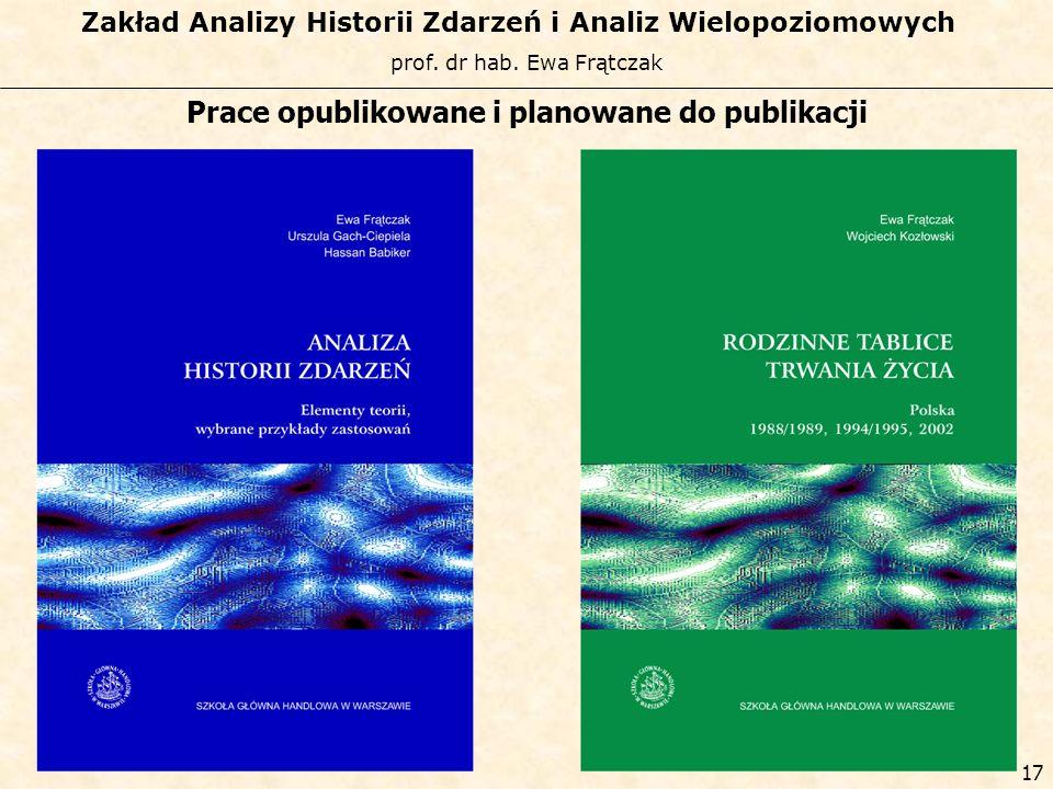 prof. dr hab. Ewa Frątczak Zakład Analizy Historii Zdarzeń i Analiz Wielopoziomowych 16 Projekty badawcze – aktualne i planowane w których biorą udzia
