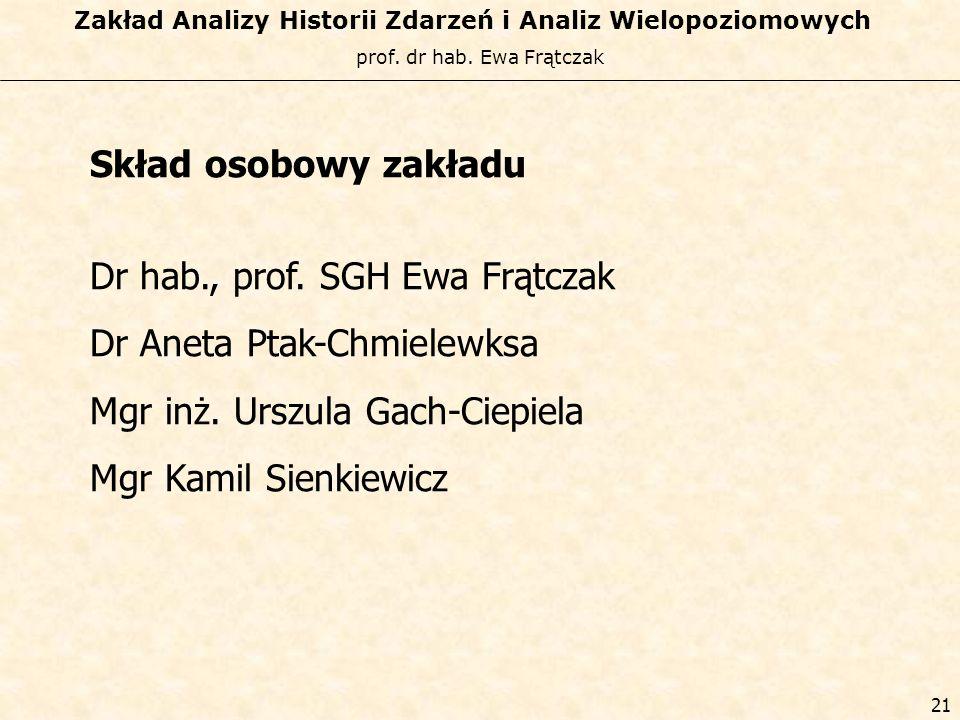 prof. dr hab. Ewa Frątczak Zakład Analizy Historii Zdarzeń i Analiz Wielopoziomowych 20 Prace opublikowane i planowane do publikacji