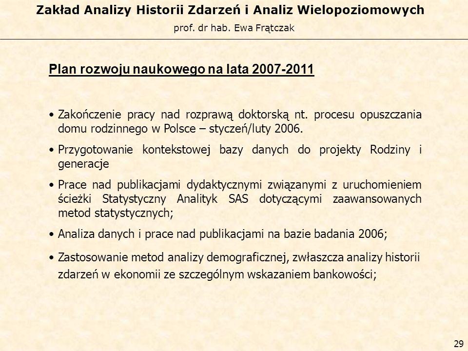 prof. dr hab. Ewa Frątczak Zakład Analizy Historii Zdarzeń i Analiz Wielopoziomowych 28 Kamil Sienkiewicz 1998-2002 – Szkoła Główna Handlowa Metody In
