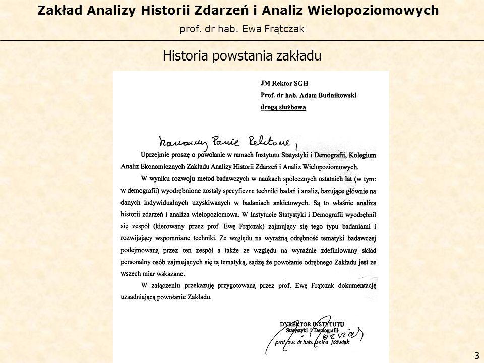 prof. dr hab. Ewa Frątczak Zakład Analizy Historii Zdarzeń i Analiz Wielopoziomowych 2 Historia powstania zakładu