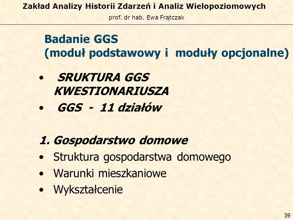 prof. dr hab. Ewa Frątczak Zakład Analizy Historii Zdarzeń i Analiz Wielopoziomowych 38 Generation and GenderProgramme Instrumenty programu GGP 1.Bada
