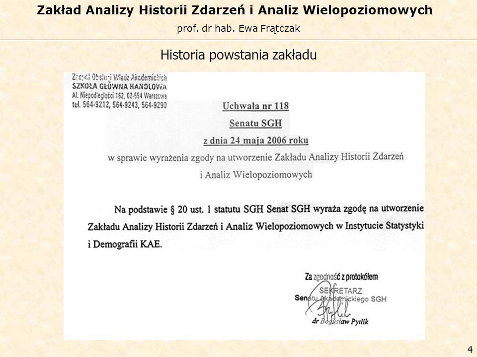 prof. dr hab. Ewa Frątczak Zakład Analizy Historii Zdarzeń i Analiz Wielopoziomowych 3 Historia powstania zakładu