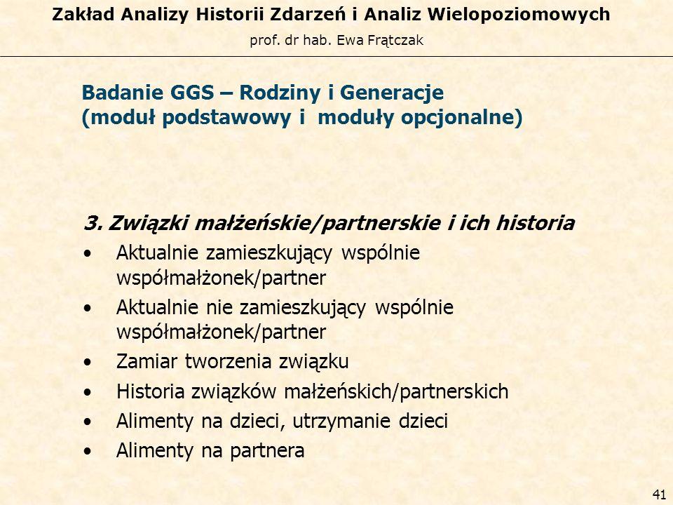prof. dr hab. Ewa Frątczak Zakład Analizy Historii Zdarzeń i Analiz Wielopoziomowych 40 Badanie GGS – Rodziny i Generacje (moduł podstawowy i moduły o