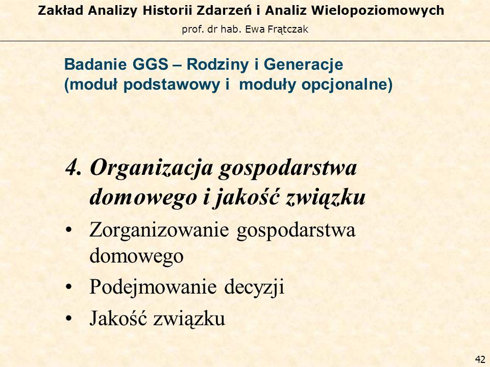 prof. dr hab. Ewa Frątczak Zakład Analizy Historii Zdarzeń i Analiz Wielopoziomowych 41 Badanie GGS – Rodziny i Generacje (moduł podstawowy i moduły o