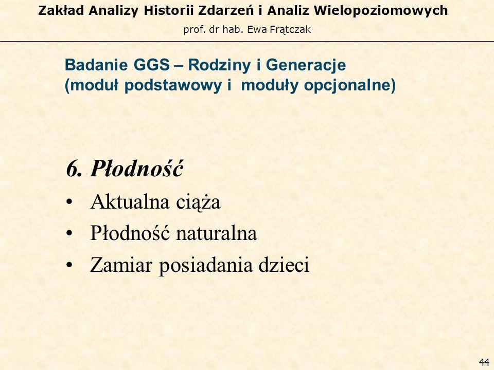 prof. dr hab. Ewa Frątczak Zakład Analizy Historii Zdarzeń i Analiz Wielopoziomowych 43 Badanie GGS – Rodziny i Generacje (moduł podstawowy i moduły o