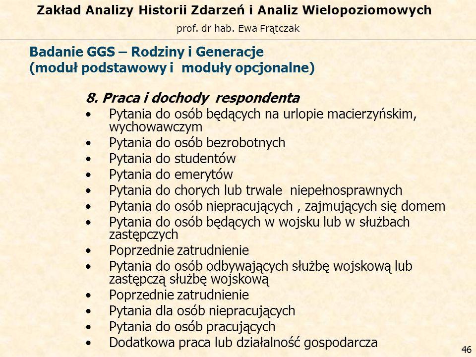 prof. dr hab. Ewa Frątczak Zakład Analizy Historii Zdarzeń i Analiz Wielopoziomowych 45 Badanie GGS – Rodziny i Generacje (moduł podstawowy i moduły o