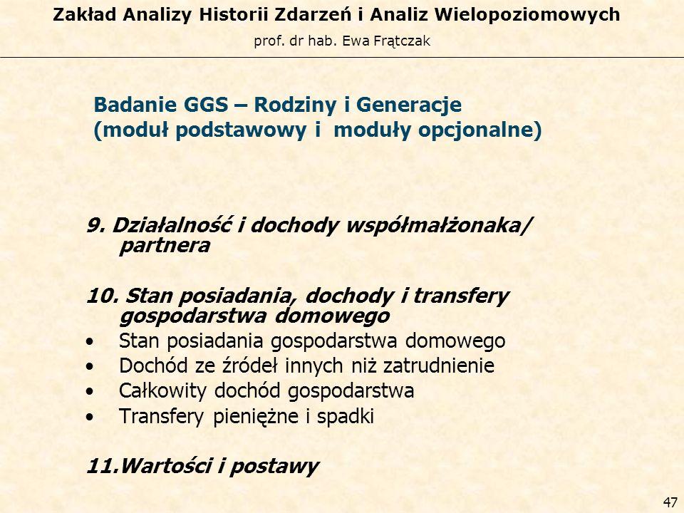 prof. dr hab. Ewa Frątczak Zakład Analizy Historii Zdarzeń i Analiz Wielopoziomowych 46 Badanie GGS – Rodziny i Generacje (moduł podstawowy i moduły o