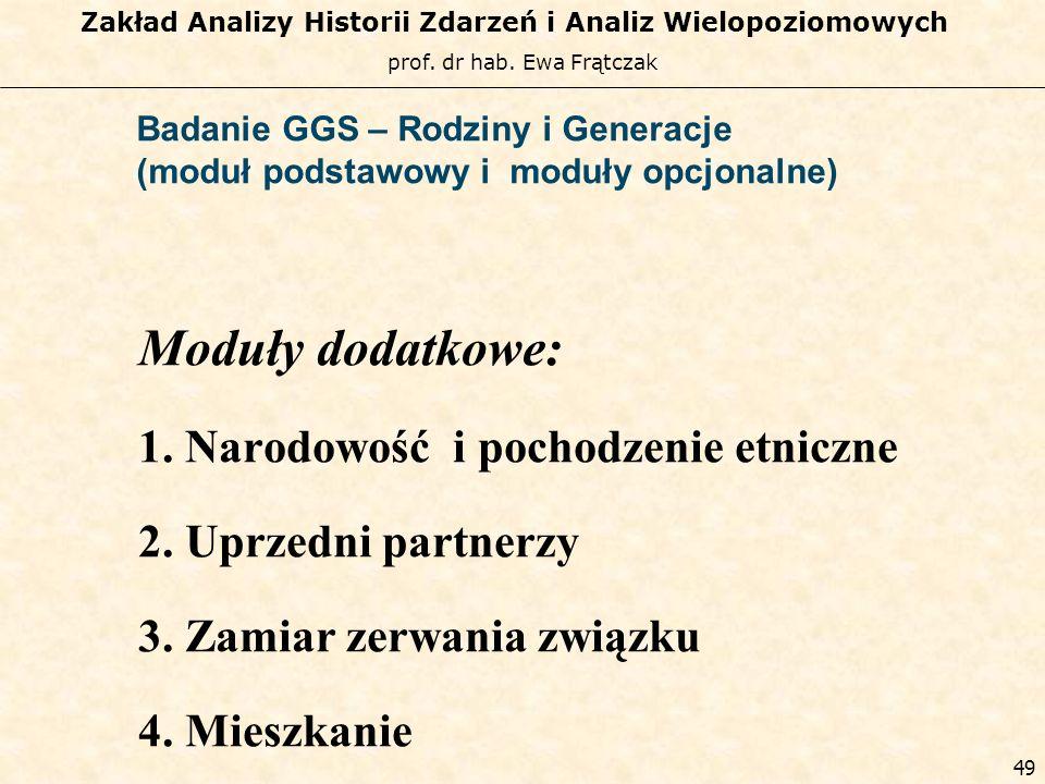 prof. dr hab. Ewa Frątczak Zakład Analizy Historii Zdarzeń i Analiz Wielopoziomowych 48 Badanie GGS – Rodziny i Generacje (moduł podstawowy i moduły o