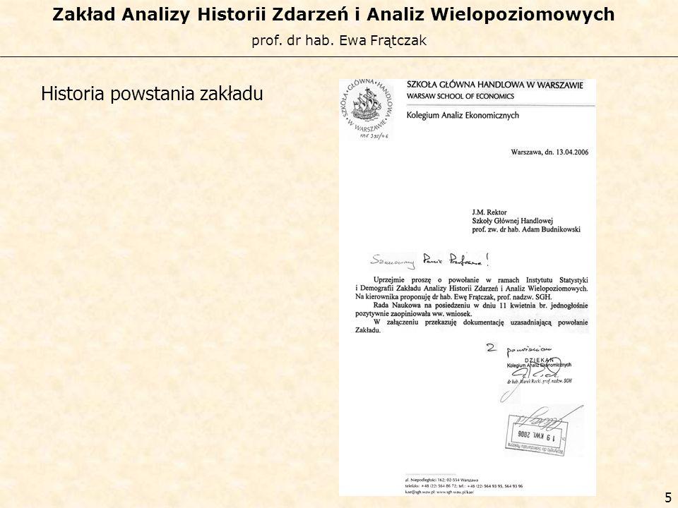 prof. dr hab. Ewa Frątczak Zakład Analizy Historii Zdarzeń i Analiz Wielopoziomowych 4 Historia powstania zakładu
