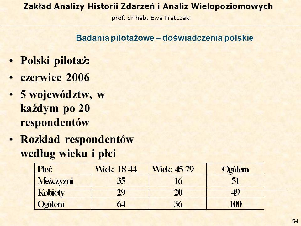 prof. dr hab. Ewa Frątczak Zakład Analizy Historii Zdarzeń i Analiz Wielopoziomowych 53 Badania pilotażowe – doświadczenia zagraniczne Badania pilotaż