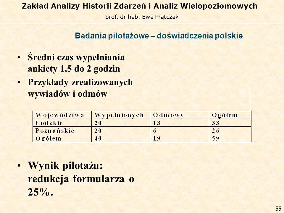 prof. dr hab. Ewa Frątczak Zakład Analizy Historii Zdarzeń i Analiz Wielopoziomowych 54 Badania pilotażowe – doświadczenia polskie Polski pilotaż: cze