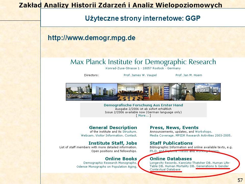 prof. dr hab. Ewa Frątczak Zakład Analizy Historii Zdarzeń i Analiz Wielopoziomowych 56 Użyteczne strony internetowe: GGP http://www.unece.org/pau/ggp