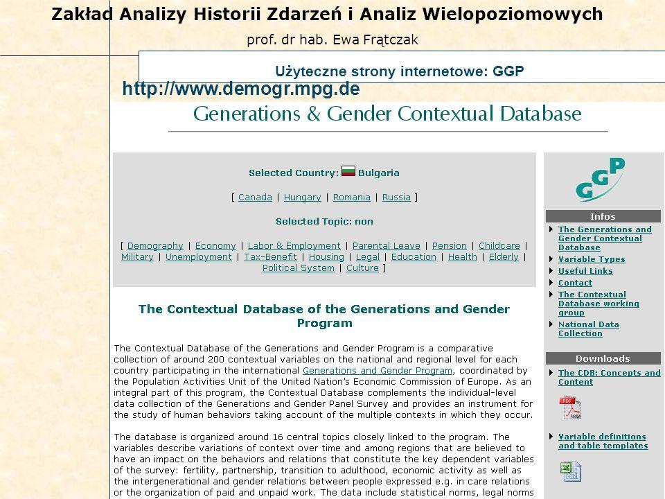 prof. dr hab. Ewa Frątczak Zakład Analizy Historii Zdarzeń i Analiz Wielopoziomowych 57 Użyteczne strony internetowe: GGP http://www.demogr.mpg.de