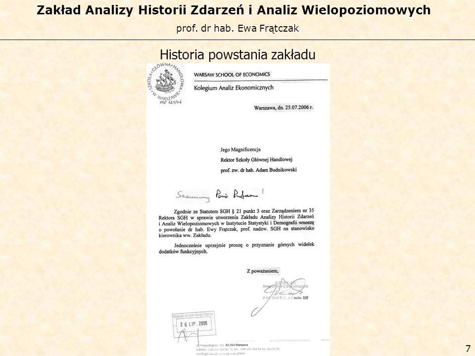 prof. dr hab. Ewa Frątczak Zakład Analizy Historii Zdarzeń i Analiz Wielopoziomowych 6 Historia powstania zakładu