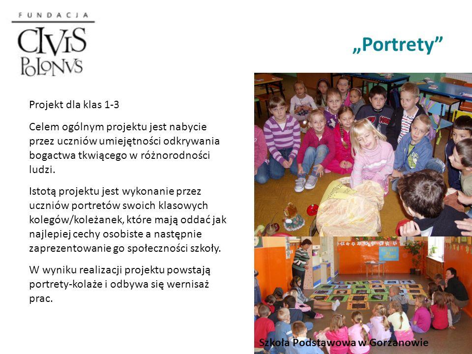 Portrety Projekt dla klas 1-3 Celem ogólnym projektu jest nabycie przez uczniów umiejętności odkrywania bogactwa tkwiącego w różnorodności ludzi.