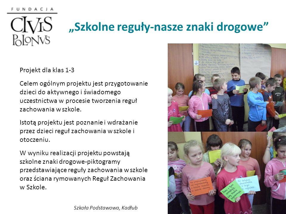 Szkolne reguły-nasze znaki drogowe Projekt dla klas 1-3 Celem ogólnym projektu jest przygotowanie dzieci do aktywnego i świadomego uczestnictwa w procesie tworzenia reguł zachowania w szkole.