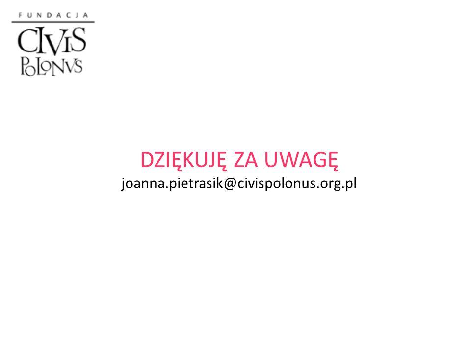 DZIĘKUJĘ ZA UWAGĘ joanna.pietrasik@civispolonus.org.pl
