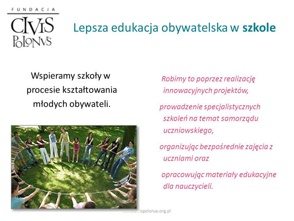 www.civispolonus.org.pl W projekcie Fundacja Civis Polonus odpowiedzialna jest za rozwój wśród uczniów i uczennic kompetencji społeczno-obywatelskich