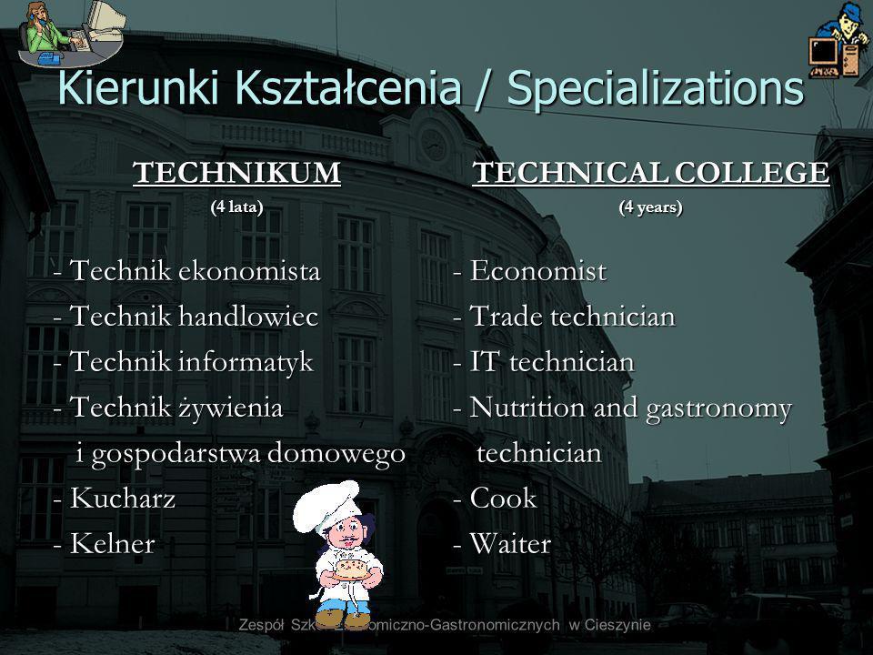 Kierunki Kształcenia / Specializations TECHNIKUM (4 lata) - Technik ekonomista - Technik handlowiec - Technik informatyk - Technik żywienia i gospodar