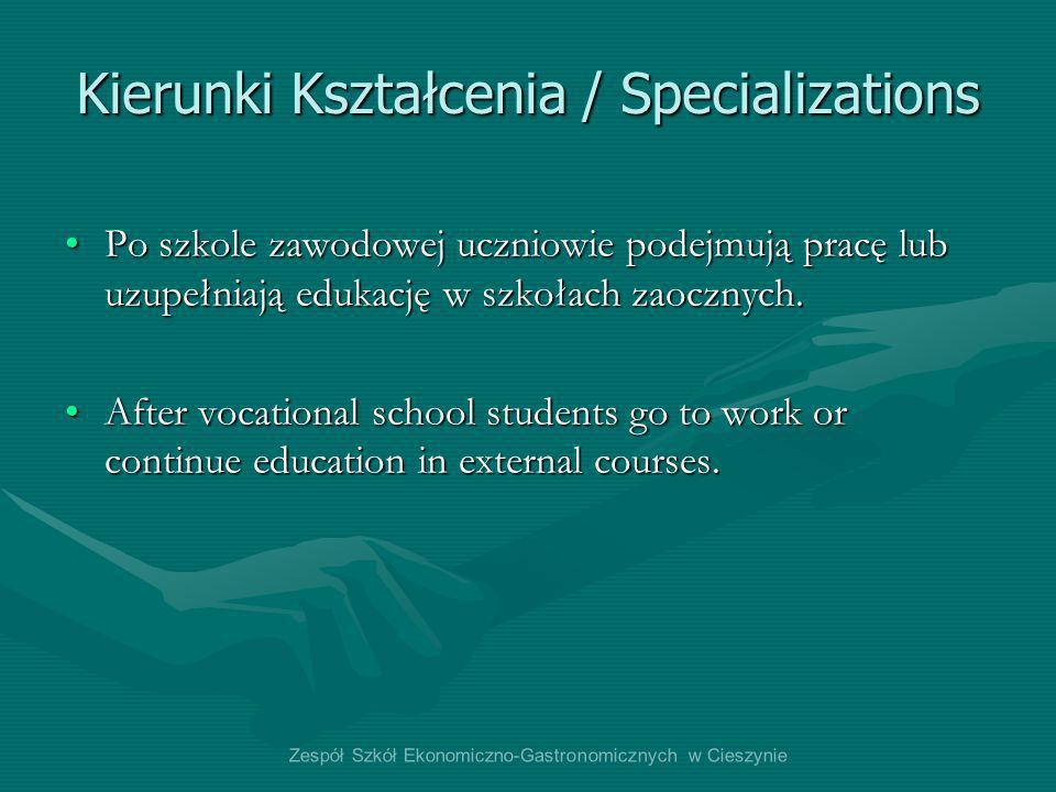 Kierunki Kształcenia / Specializations Po szkole zawodowej uczniowie podejmują pracę lub uzupełniają edukację w szkołach zaocznych.Po szkole zawodowej