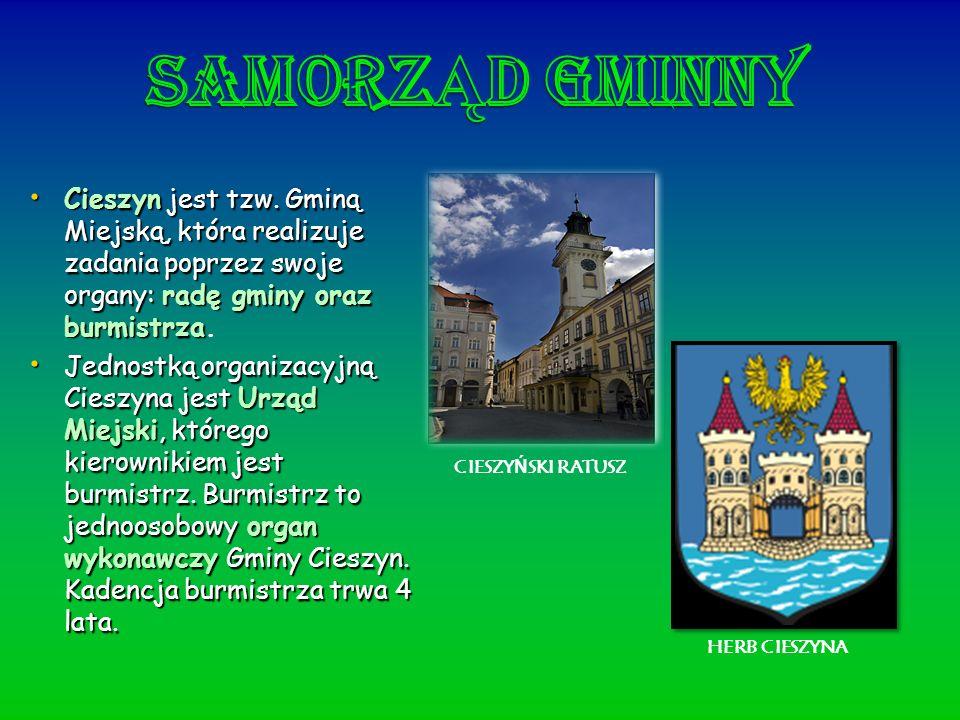 Cieszynjest tzw. Gminą Miejską, która realizuje zadania poprzez swoje organy: radę gminy oraz burmistrza Cieszyn jest tzw. Gminą Miejską, która realiz