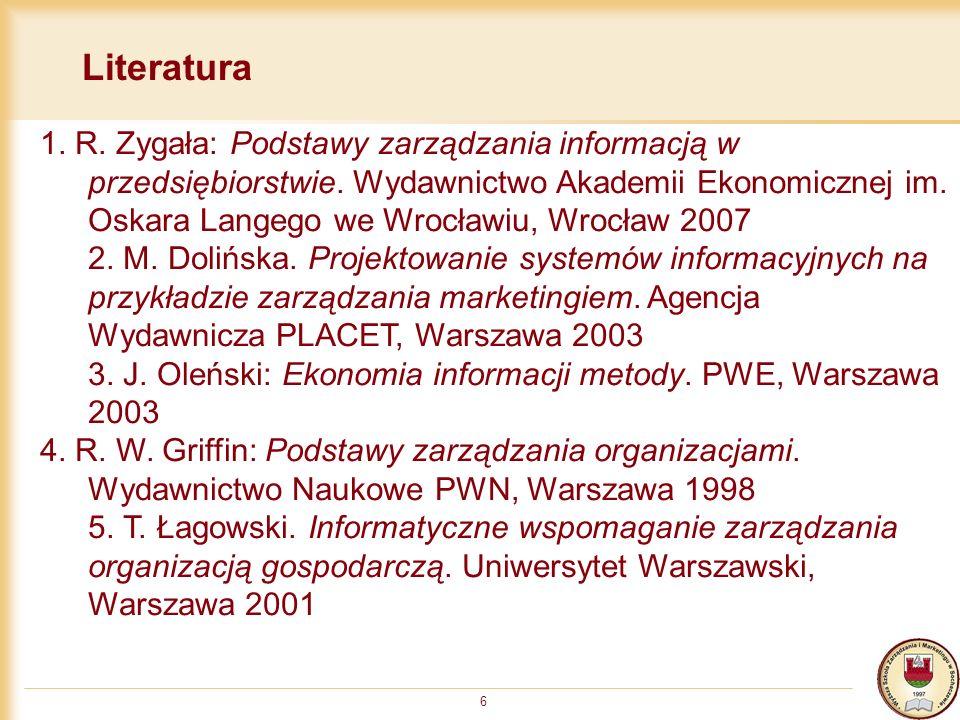 6 Literatura 1. R. Zygała: Podstawy zarządzania informacją w przedsiębiorstwie. Wydawnictwo Akademii Ekonomicznej im. Oskara Langego we Wrocławiu, Wro