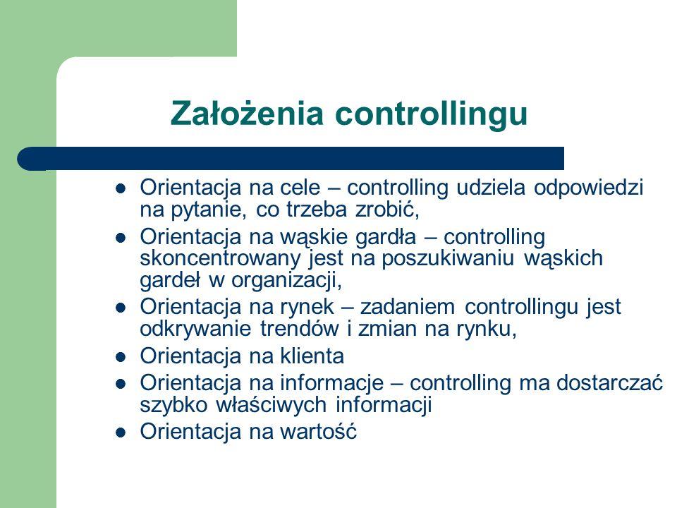 Założenia controllingu Orientacja na cele – controlling udziela odpowiedzi na pytanie, co trzeba zrobić, Orientacja na wąskie gardła – controlling sko