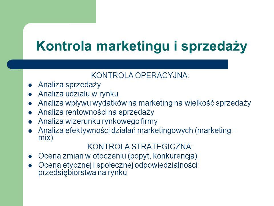 Kontrola marketingu i sprzedaży KONTROLA OPERACYJNA: Analiza sprzedaży Analiza udziału w rynku Analiza wpływu wydatków na marketing na wielkość sprzed