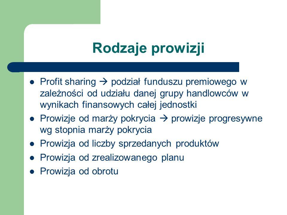 Rodzaje prowizji Profit sharing podział funduszu premiowego w zależności od udziału danej grupy handlowców w wynikach finansowych całej jednostki Prow
