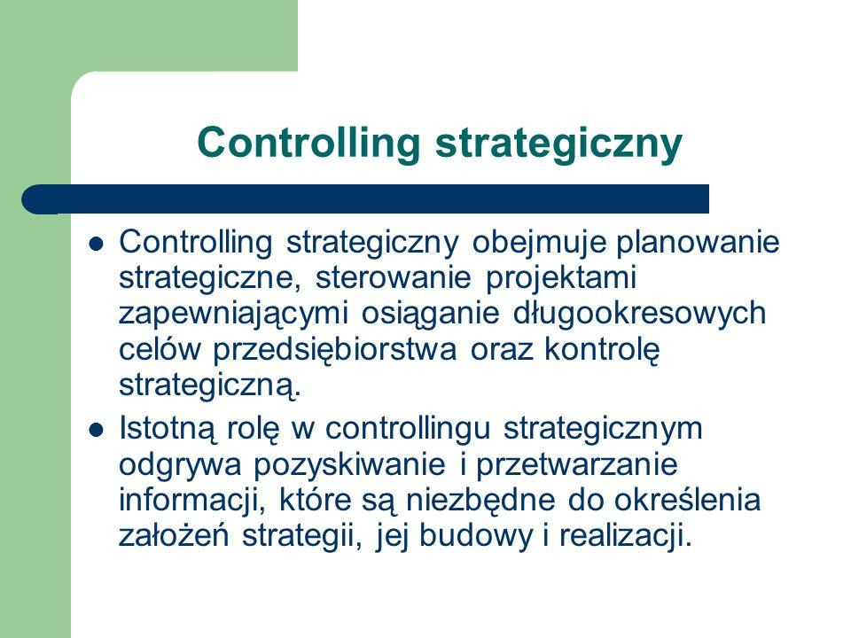 Controlling strategiczny Controlling strategiczny obejmuje planowanie strategiczne, sterowanie projektami zapewniającymi osiąganie długookresowych cel