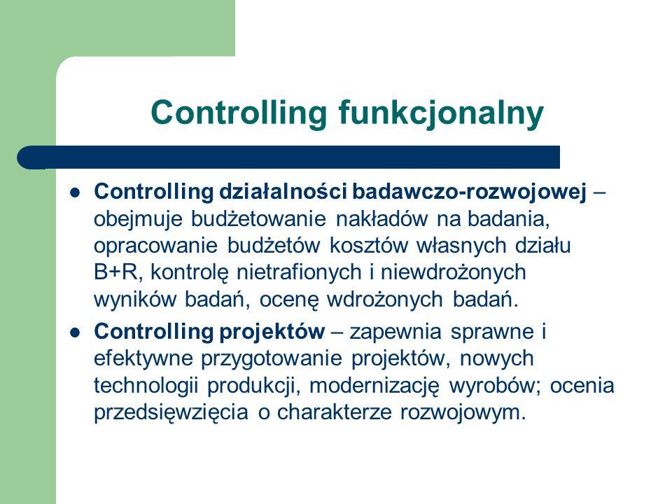 Controlling funkcjonalny Controlling działalności badawczo-rozwojowej – obejmuje budżetowanie nakładów na badania, opracowanie budżetów kosztów własny